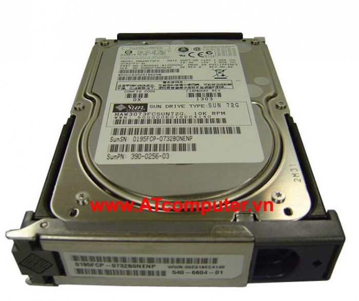 HDD SUN 73.4GB, 10K RPM SCSI. Part: XRA-SC1CA-73G10K, 540-6289