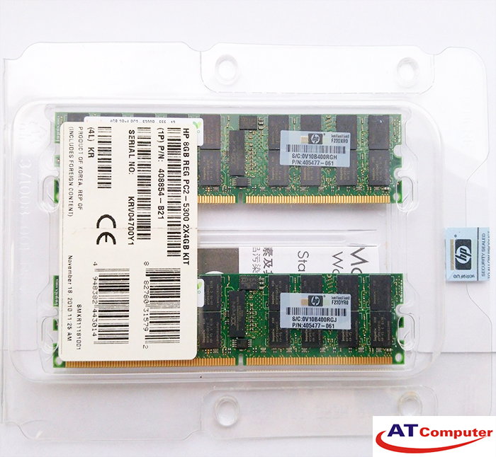 RAM HP 8GB DDR2-667Mhz PC2-5300 (2x4GB) 2RX4 Dual Rank ECC. Part: 408854-B21