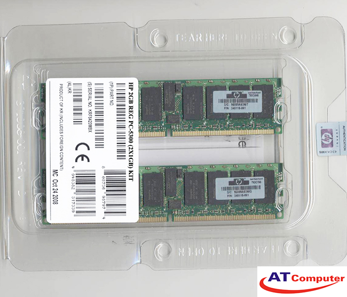 RAM HP 2GB DDR2-667Mhz PC2-5300 (2x1GB) CL5 ECC. Part: 461826-B21