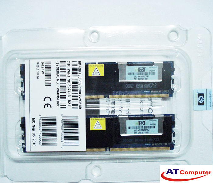 RAM HP 4GB DDR2-667Mhz PC2-5300 (2x2GB) FB DIMM ECC. Part: 397413-B21