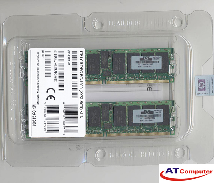 RAM HP 1GB DDR-400MHz PC-3200 (2x512GB ) CL3 ECC. Part: 343055-B21