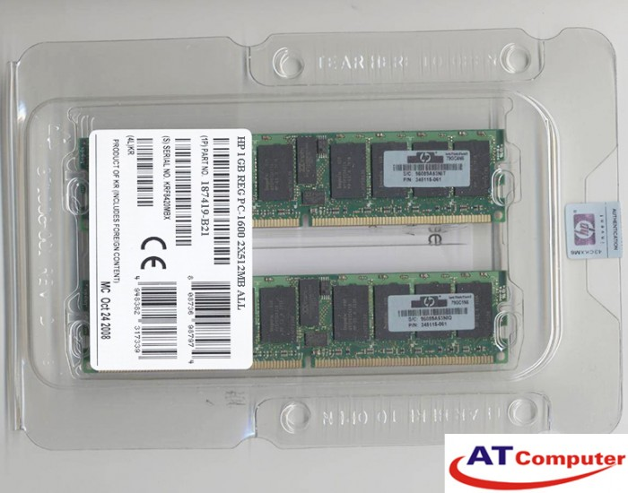 RAM HP 1Gb DDR-200Mhz PC-1600 (2x512Mb) ECC. Part: 187419-B21