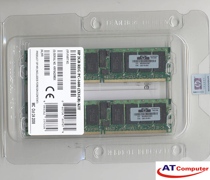 RAM HP 2Gb  DDR-200Mhz PC1600 (2x1GB) ECC. Part: 187420-B21