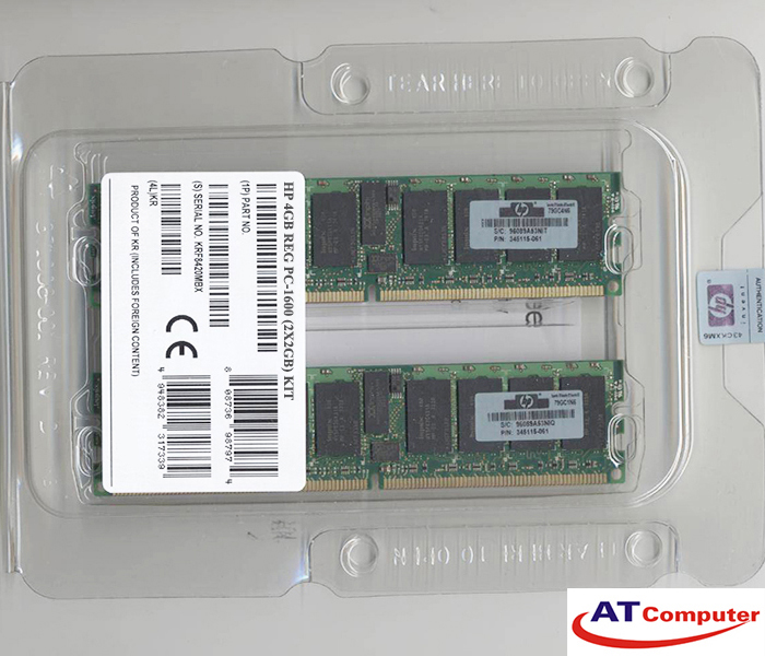 RAM HP 4Gb DDR-200Mhz PC-1600 (2x2Gb) REG ECC. Part: 187421-B21