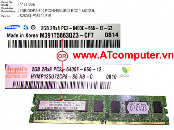 RAM FUJITSU 2GB DDR2-800 PC2-6400 UB D ECC. Part: S26361-F3870-L515