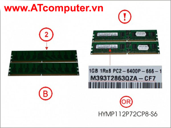 RAM FUJITSU 2GB (2X1GB) DDR2-800 PC2-6400 RG ECC. Part: S26361-F3550-L511