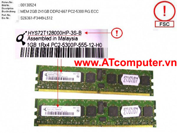 RAM FUJITSU 2GB (2X1GB) DDR2-667 PC2-5300 RG ECC. Part: S26361-F3449-L512