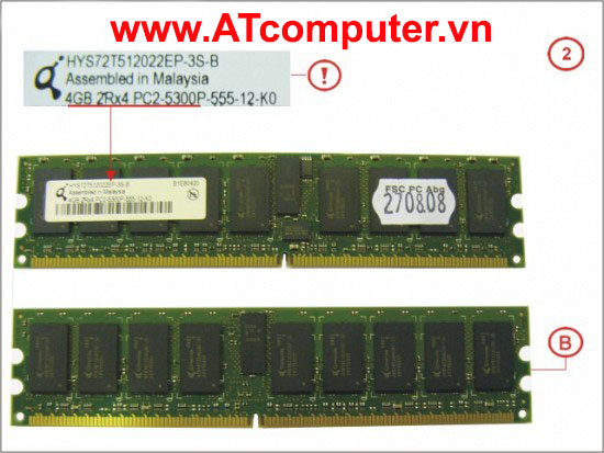 RAM FUJITSU 8GB (2X4GB) DDR2-667 PC2-5300 RG D ECC. Part: S26361-F3449-L524