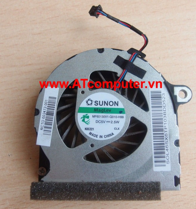 FAN CPU HP Probook 4320S, 4321S, 4325S, 4420S, 4421S, 4425S Series. Part: MF60130V1-Q010-H99, KSB0505HB(-9H37), 602472-001, 46SX6TP003, DFS451205MB0T