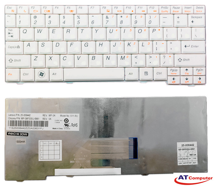 Bàn phím Lenovo Ideapad S10-2. Part: 25-008465, MP-08F53US-6861, V103802BS1 US