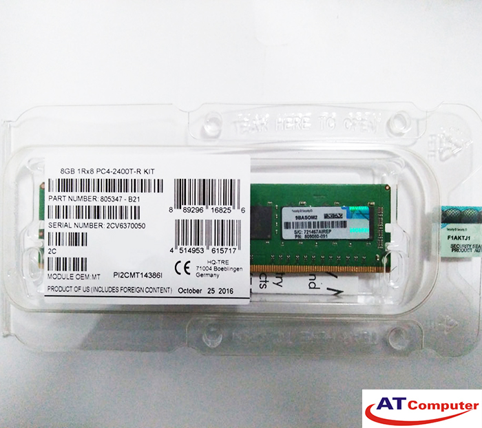 RAM HP 8GB DDR4-2400MHz PC4-19200 CL17 1RX8 Single Rank ECC. Part: 851353-B21