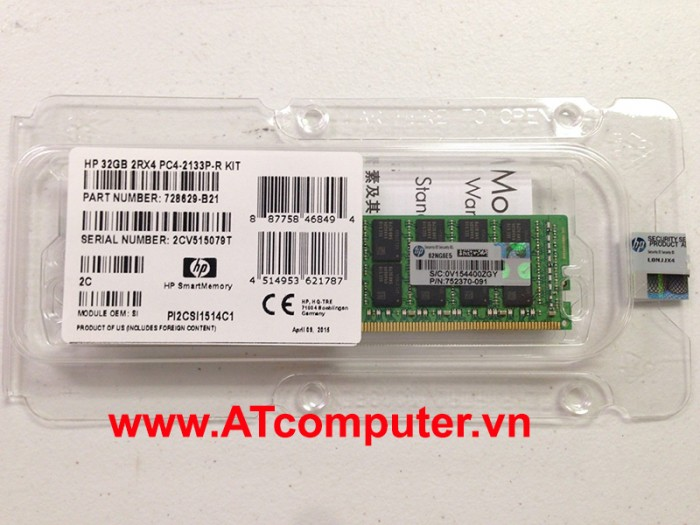 RAM HP 32GB DDR4-2666MHZ PC4-21300 CL19 1RX4 ECC. Part: 815100-B21