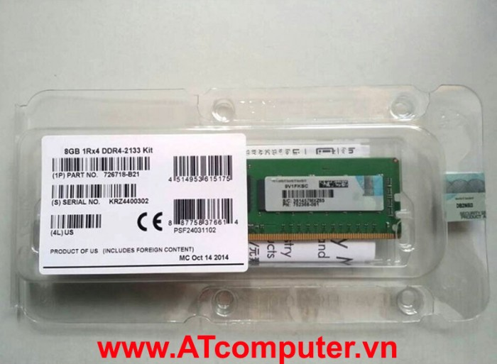 RAM HP 8GB DDR4-2666MHZ PC4-21300 CL19 1RX8 ECC. Part: 815097-B21