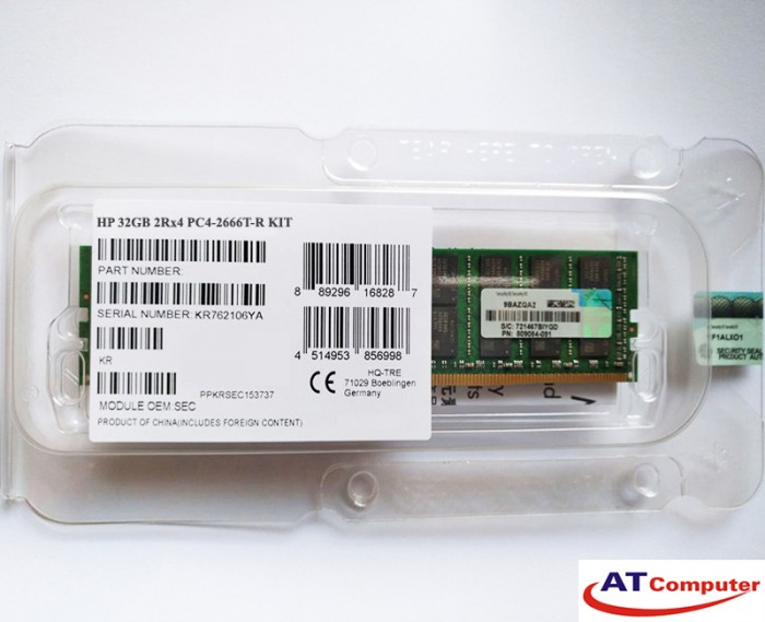 RAM HP 32GB DDR4-2666MHZ PC4-21300 CL19 1RX4 ECC. Part: 832798-B21