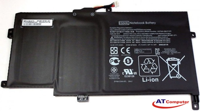 PIN HP Envy 6T, 6Z, 6Z-1000, 6T-1000, 6T-1100, 6T-2000. 4Cell, Original, Part: EG04XL, HSTNN-DB3T, HSTNN-IB3T