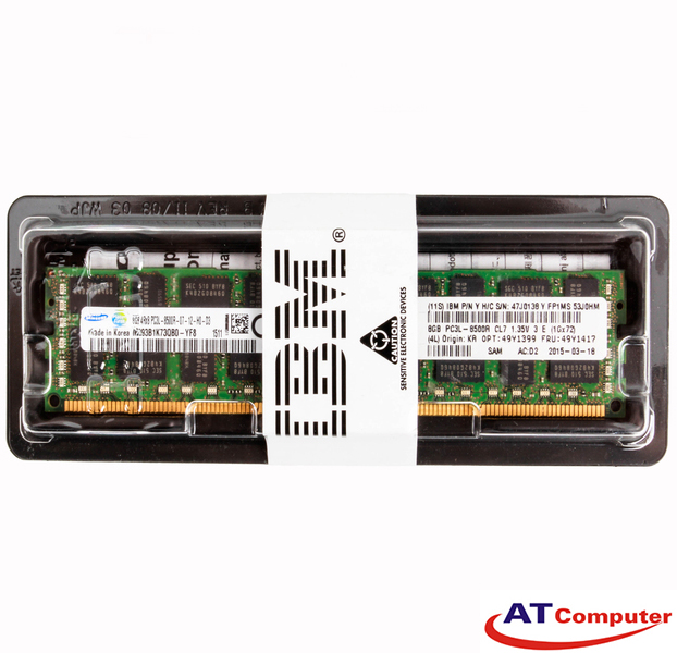 RAM IBM 8GB DDR3L-1066Mhz PC3L-8500 4Rx8 CL7 LP RDIMM ECC. Part: 49Y1417