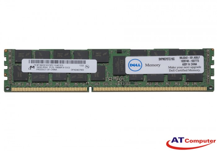RAM DELL 16GB DDR3L-1333Mhz PC3L-10600 Registered ECC. Part: MGY5T