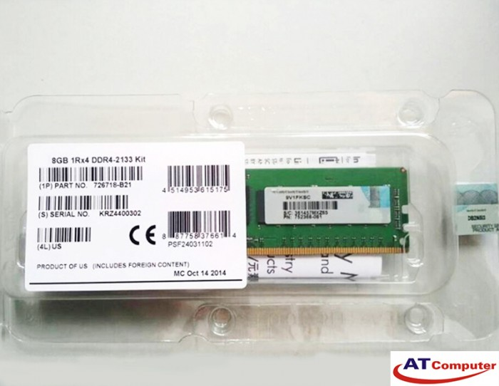 RAM HP 8GB DDR4-2666MHz PC4-21300 CL19 1RX8 Single Rank ECC. Part: 867853-B21
