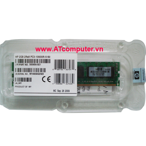 RAM HP 2GB DDR3-1333Mhz PC3-10600E CL9 Dual Rank ECC . Part: 500670-B21